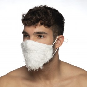 FEATHER FACE MASK WHITE 01
