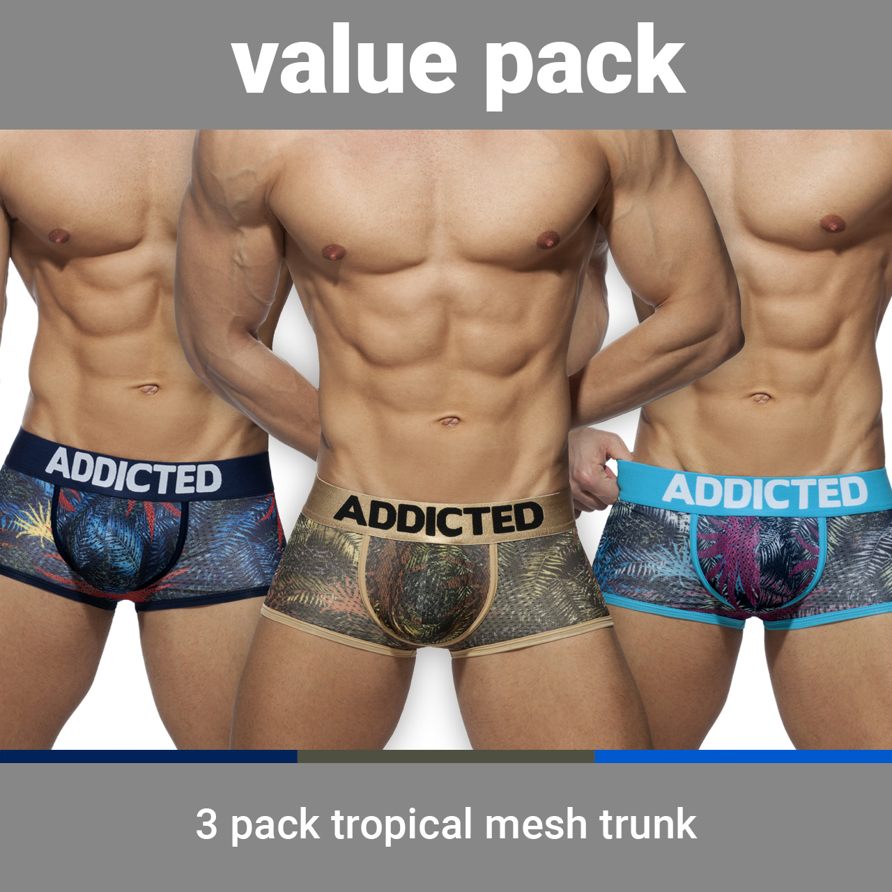 3 PACK TROPICAL MESH TRUNK PUSH UP 3 COLORES