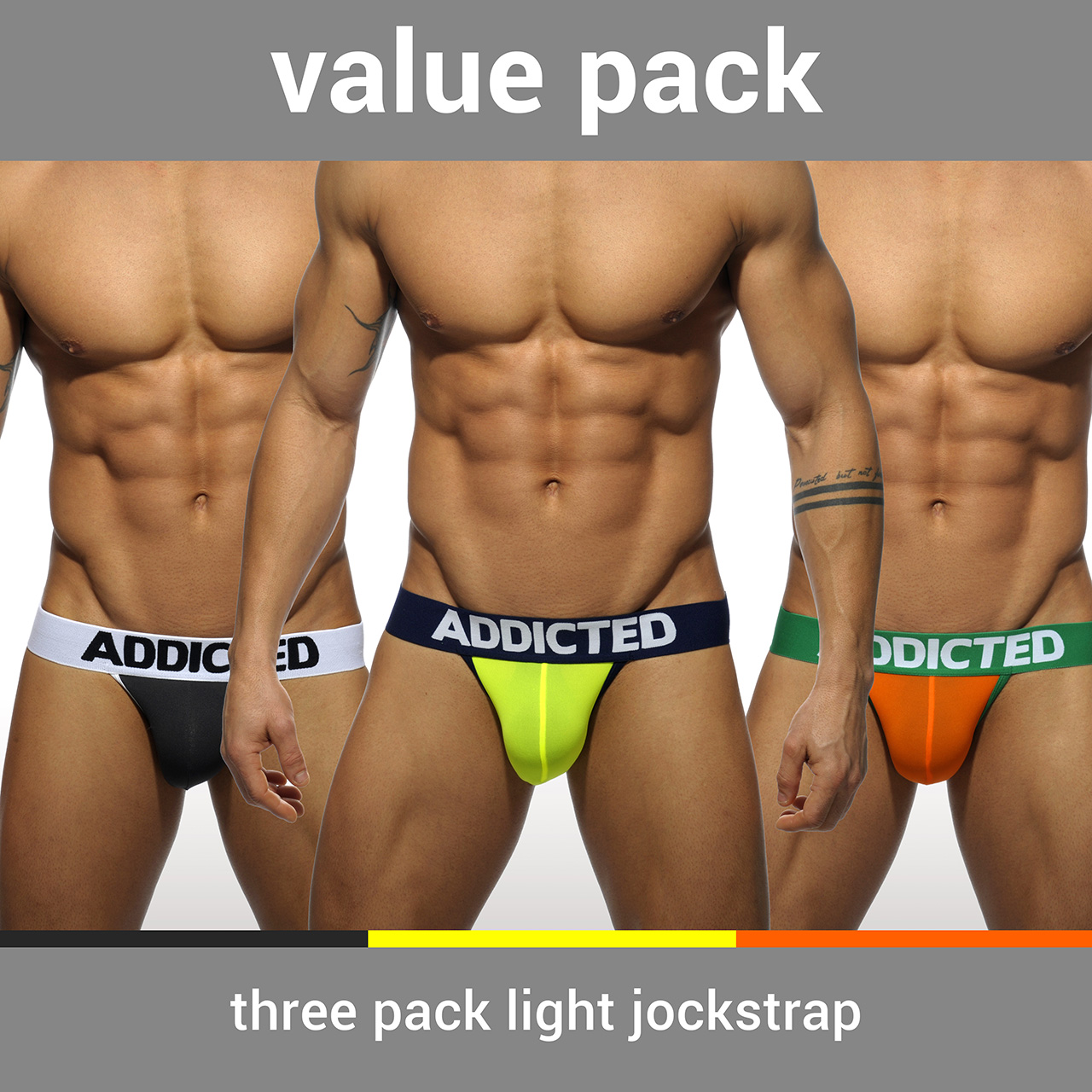 3 PACK LIGHT JOCKSTRAP 3 COLOURS