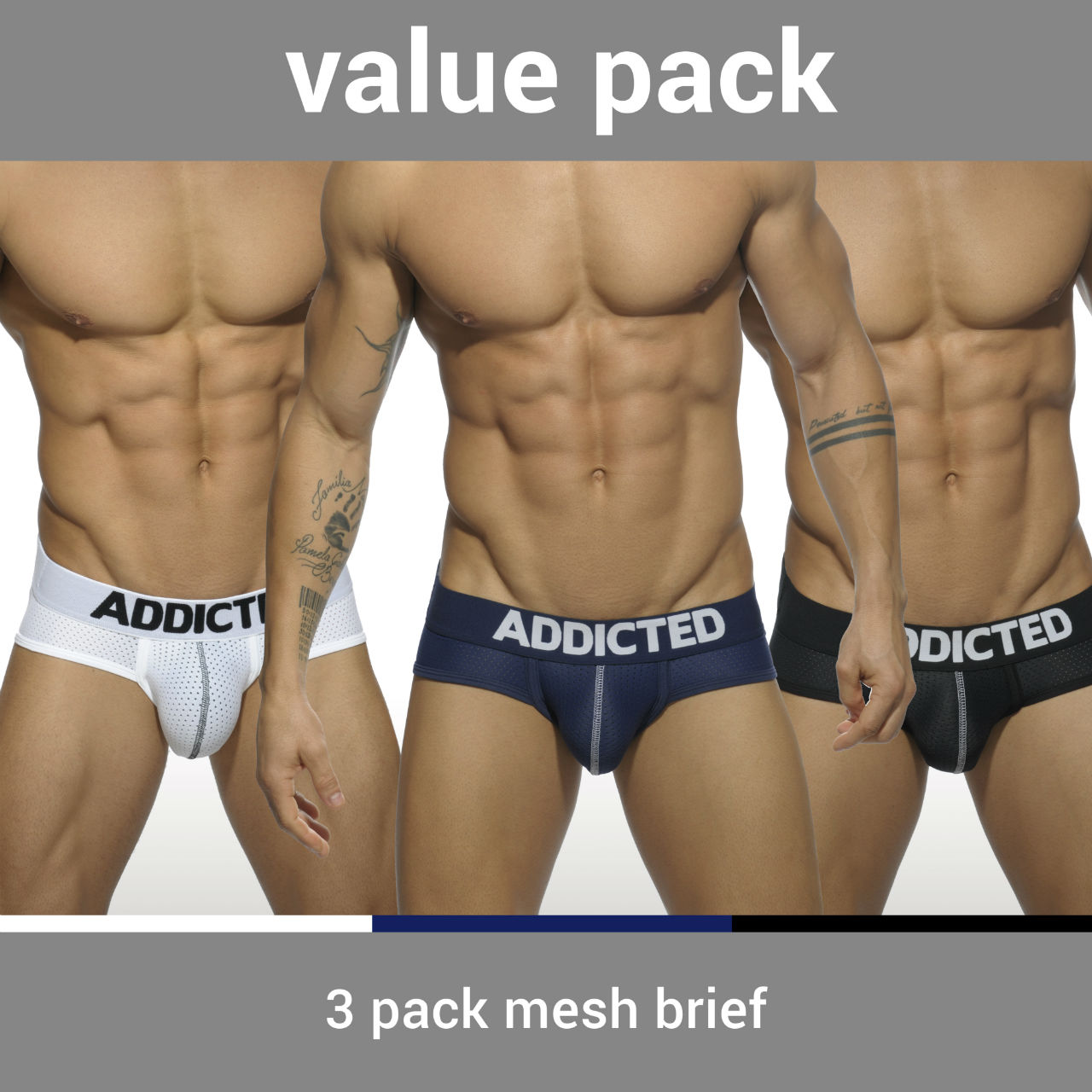 3 PACK MESH BRIEF PUSH UP 3 COLOURS