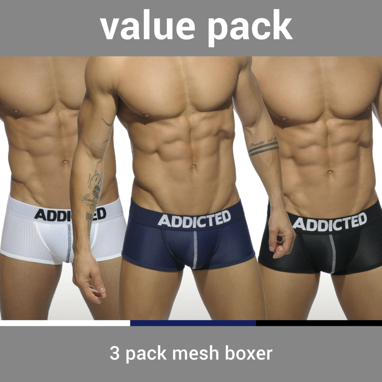 3 PACK MESH BOXER PUSH UP 3 COLOURS