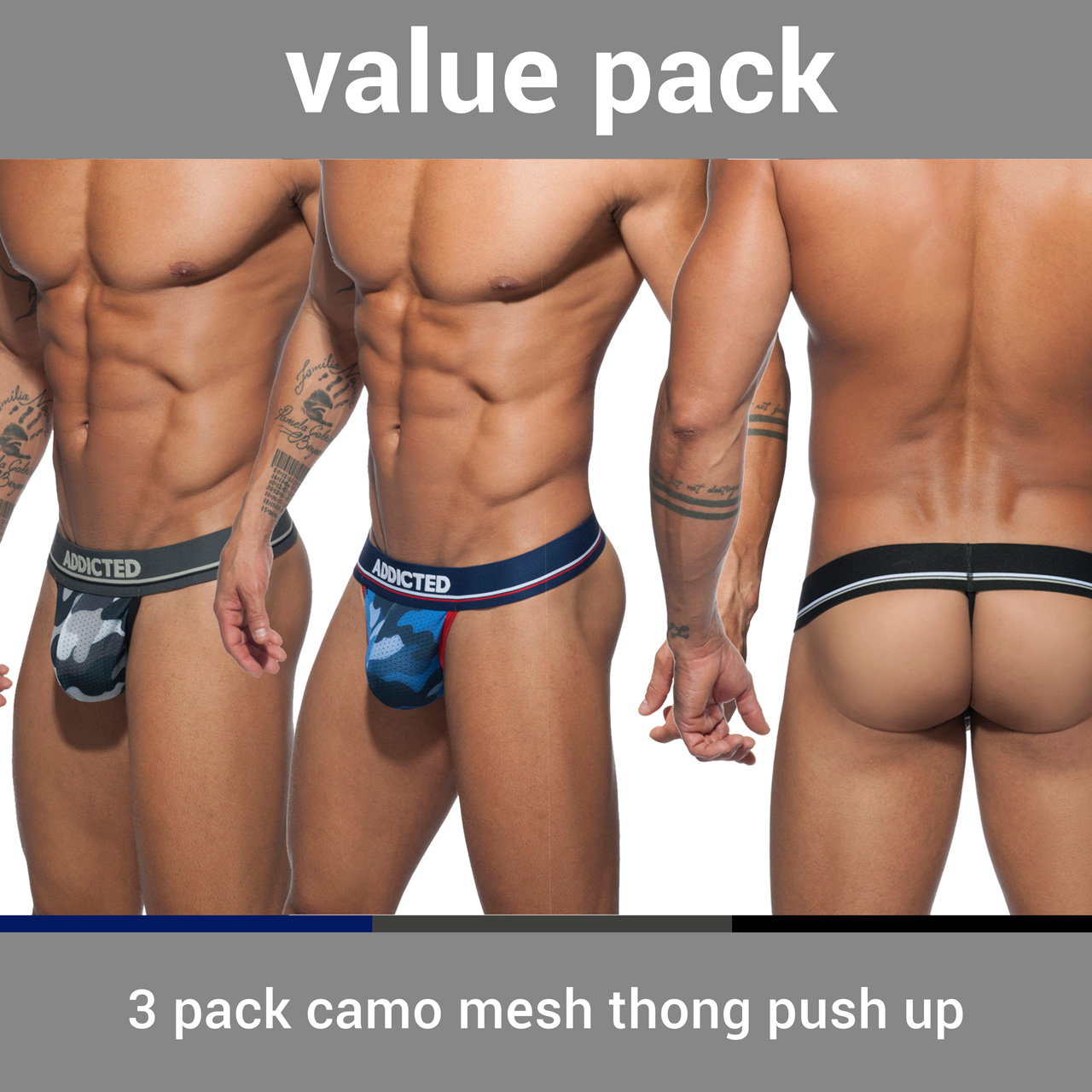3 PACK CAMO MESH THONG PUSH UP 3 COLOURS