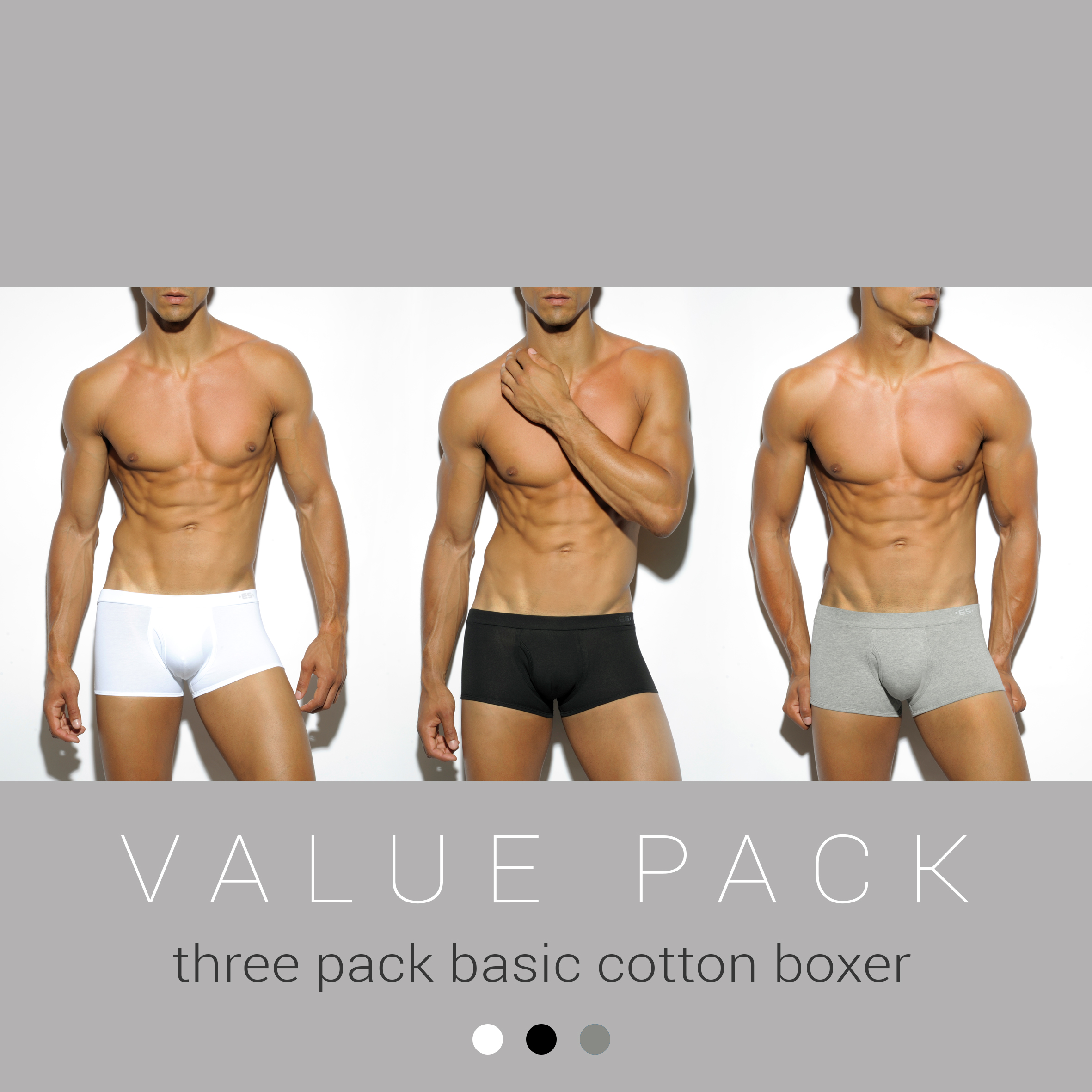 THREE PACK BASIC COTTON BOXER 3 COLOURS