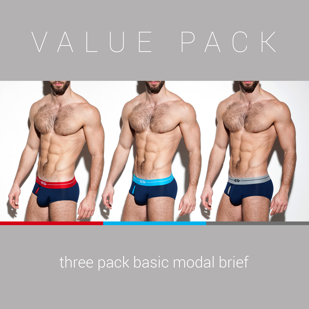 3 PACK BASIC MODAL BRIEF 3 COLOURS