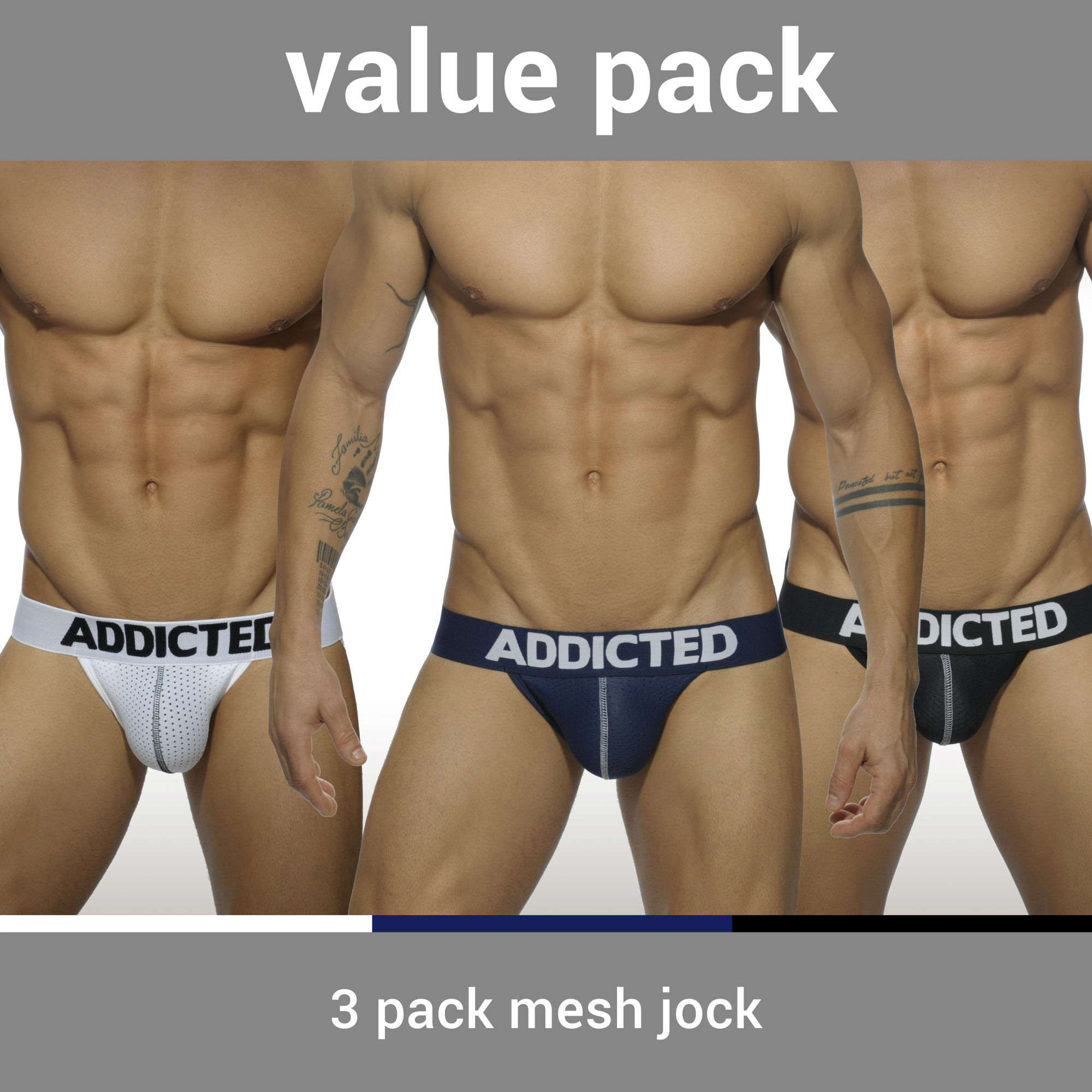 3 PACK MESH JOCK PUSH UP 3 COLOURS