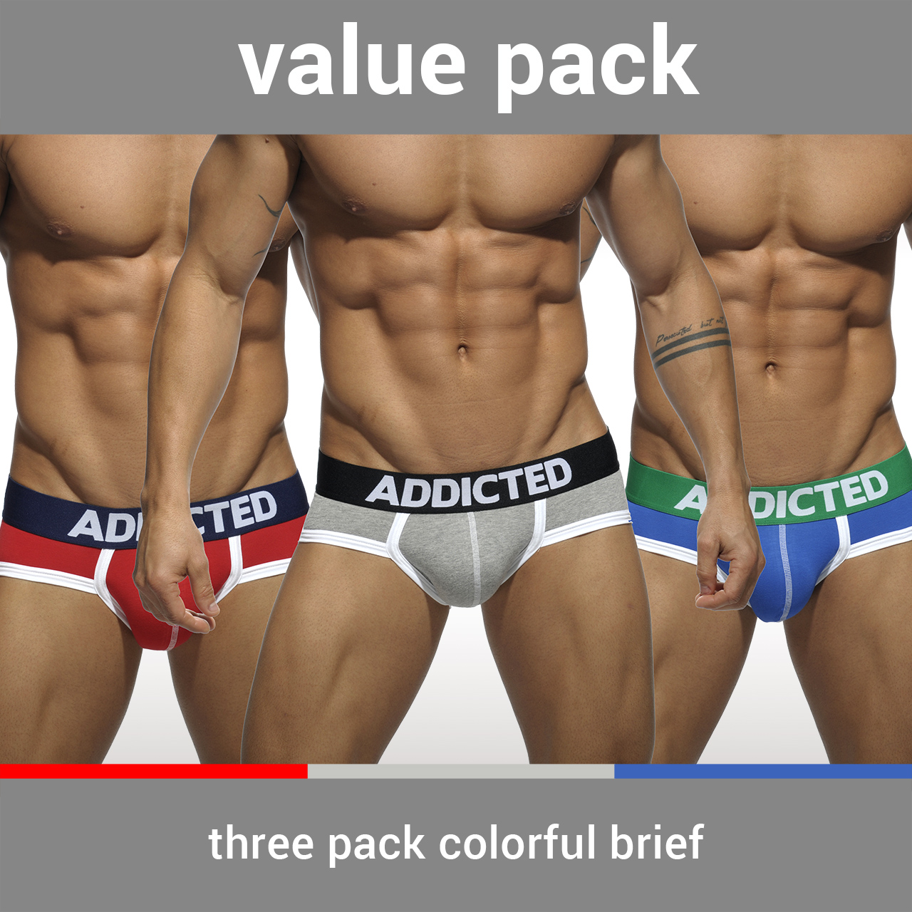 THREE PACK BASIC SLIP 3 COLORES